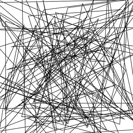Ilustración de Asymmetrical texture with random chaotic lines, abstract geometric pattern. Abstract web, a tangled mesh. Black and white vector illustration for creating modern art backgrounds. Grunge urban style. - Imagen libre de derechos
