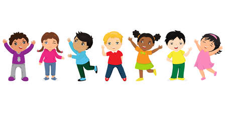 Illustration pour Group of happy kids cartoon. Funny kids of different races with various hairstyles. Friendship concept - image libre de droit