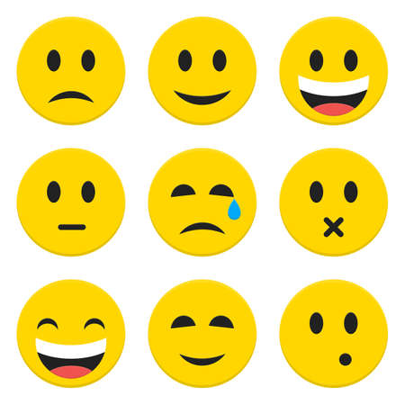 Illustrazione per Character Emotions Happy and Sad Vector Icons Set Isolated over White. Flat Set Icons Isolated Vector Illustration - Immagini Royalty Free