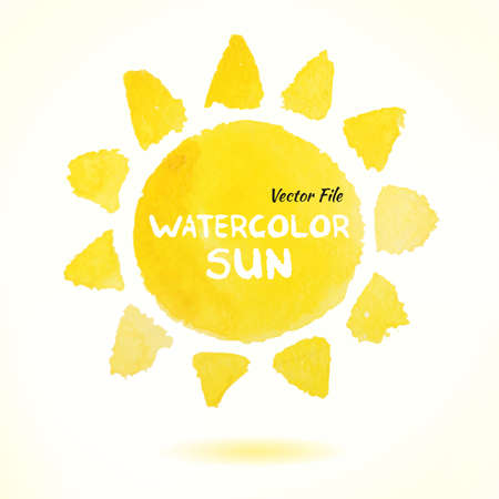 Ilustración de Watercolor Hand Drawn Vector Sun. Isolated Vector Watercolor Hand Drawn Paint Design Element. Colorful background for business design. Advertisement and presentation background. Watercolor Sun - Imagen libre de derechos