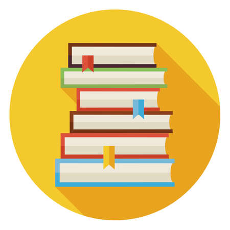 Illustration pour Flat Books with Bookmarks Circle Icon with Long Shadow. Back to School and Education. Wisdom Knowledge and Library Vector illustration. Reading Book with Bookmark Object. - image libre de droit