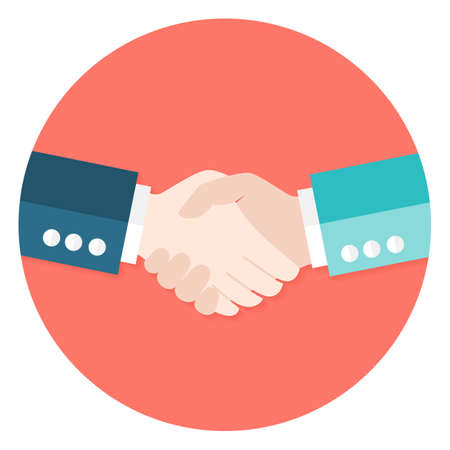Illustration pour Illustration of Two Businessmen Shaking Hands Flat Circle Icon. Vector Illustration. Teamwork and Work Relationships - image libre de droit