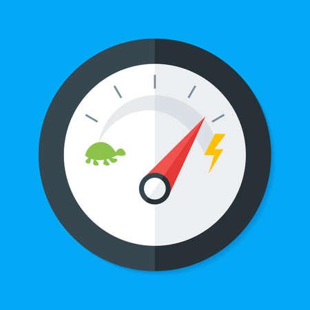 Ilustración de Speedometer Flat Style. Vector Illustration of Flat Design Speedometer. Measurement Equipment - Imagen libre de derechos