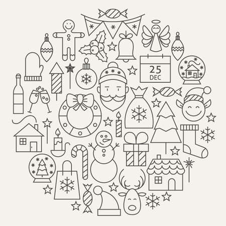 Illustration pour Christmas New Year Holiday Line Icons Set Circular Shaped. Vector Illustration of Decoration and Festival Cold Celebration Objects. Winter Holiday Items. - image libre de droit