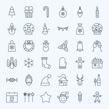 Illustration for Line Holiday Christmas Icons Set. Vector Set of 36 New Year Holiday Modern Line Icons for Web and Mobile. Winter Season Icons Collection - Royalty Free Image