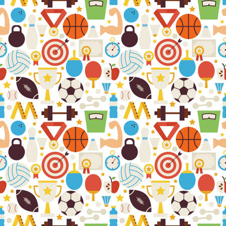 Sport Competition Fitness Vector Seamless Pattern. Sports and Activities Flat Design Vector Illustration. Background. Set of Team Games First place and Sport Items