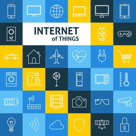 Ilustración de Line Art Internet of Things Icons Set. Vector Set of Smart Home Technology Modern Line Icons for Web and mobile. - Imagen libre de derechos