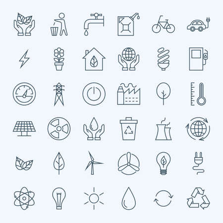 Ilustración de Line Green Energy Eco Icons Set. Set of Modern Thin Outline Icons for Ecology and Nature Environment Items. - Imagen libre de derechos