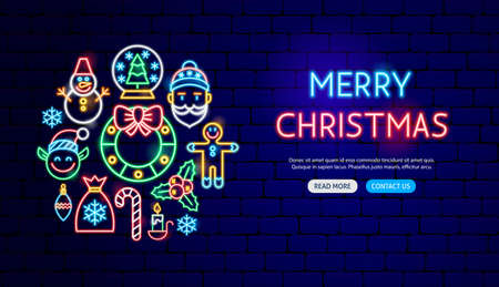 Photo for Merry Christmas Neon Banner Design. Vector Illustration of Winter Holiday Promotion. - Royalty Free Image