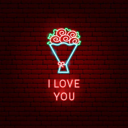 Illustration for I Love You Flowers Neon Label - Royalty Free Image