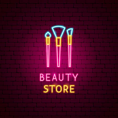 Illustration pour Beauty Store Neon Label - image libre de droit