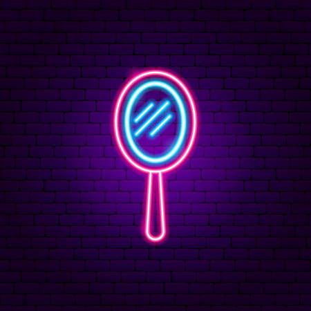 Illustration pour Hand Mirror Neon Sign - image libre de droit