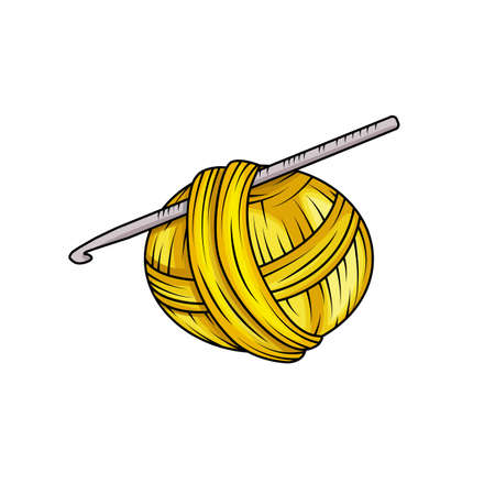 Illustration for Yarn ball in cartoon style. For print, logo, creative design. Vector illustration. Isolated on white - Royalty Free Image
