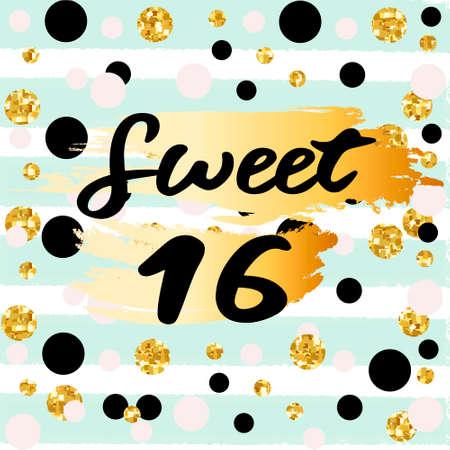 Illustration pour Cute festive bright sweet sixteen card with golden glitter confetti for your decoration - image libre de droit
