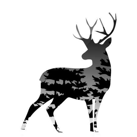 Ilustración de silhouette of a deer with pine forest white background, vector illustration - Imagen libre de derechos