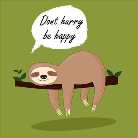 Photo pour Vector illustration of lazy sloth with the speech bubble and the words - image libre de droit