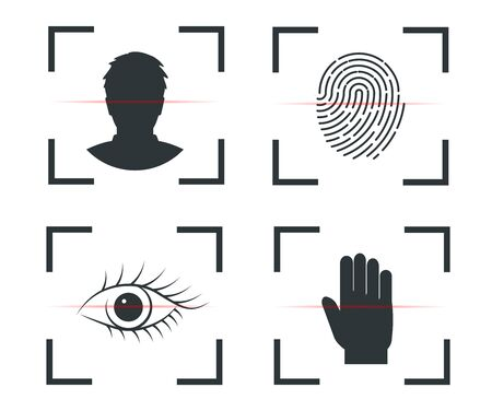 Ilustración de Authentication of identity, Face recognition, fingerprint retina hand - Imagen libre de derechos