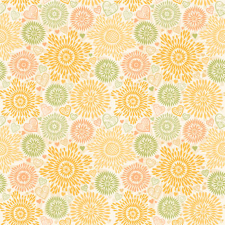 Illustration pour Seamless pattern with colorful flowers and hearts. Pastel autumn background. Ornamental and orange lace backdrop. Ornate floral decor for wallpaper. Endless texture. Monochrome pattern fill. - image libre de droit