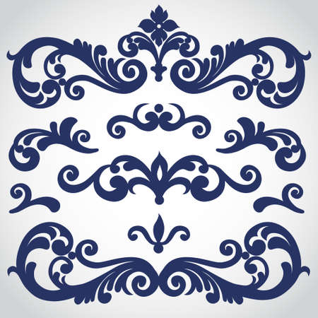 Illustration pour Vector set with ornament in Victorian style. Ornate elements for design. Toolkit for designer. It can be used for decorating of wedding invitations, greeting cards, decoration for bags and clothes. - image libre de droit