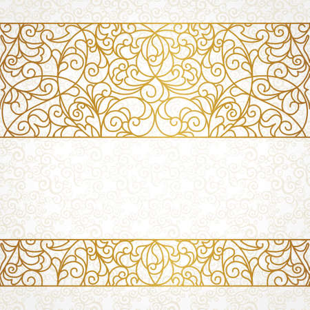Illustration pour Vector ornate seamless border in Eastern style. Line art element for design, place for text. Ornamental vintage frame for wedding invitations and greeting cards. Traditional gold decor. - image libre de droit