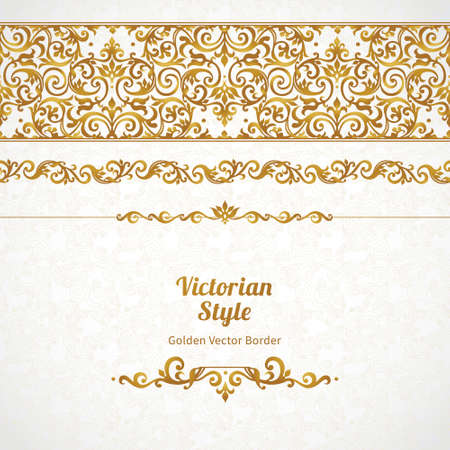 Ilustración de Vector ornate seamless border in Victorian style. Gorgeous element for design, place for text. Ornamental vintage pattern for wedding invitations, birthday and greeting cards.Traditional golden decor. - Imagen libre de derechos
