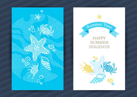 Bright Summer Holidays cards with sea elements. Sea pattern with seashells and starfish. Place for your text. Template frame design for banner, placard, invitation. Marine life vector background.