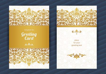 Ilustración de Vintage ornate cards in oriental style. Golden Eastern floral decor. Template vintage frame for birthday and greeting card, wedding invitation. Ornate vector border. Easy to use, layered. - Imagen libre de derechos