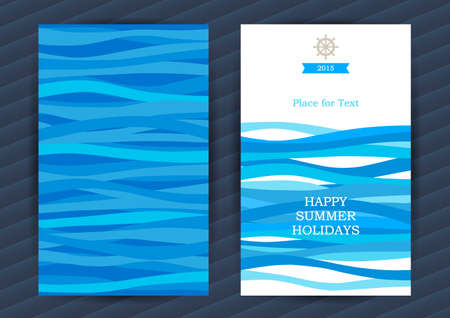 Illustration pour Bright Summer Holidays cards with sea elements. Sea pattern with blue waves. Place for your text. Template frame design for banner, placard, invitation. Marine life vector background. - image libre de droit