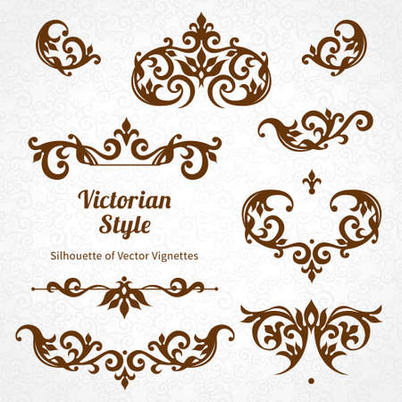 Ilustración de Vector set of vintage ornaments in Victorian style. Ornate element for design and place for text. Ornamental lace patterns for wedding invitations and greeting cards. - Imagen libre de derechos