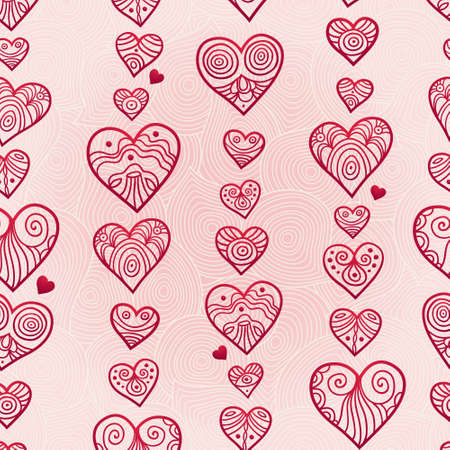 Illustration pour Fine seamless vector pattern with hearts. Line art decor on pink background. Light outline wallpaper. Romantic vintage background. Endless ornate texture. Bright pattern fill. - image libre de droit