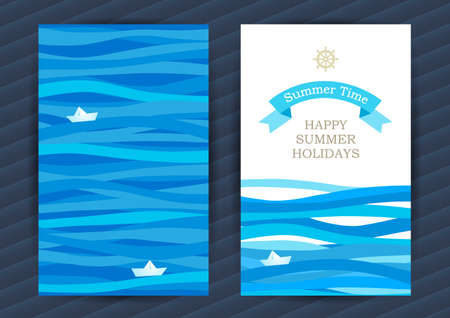 Illustration for Bright Summer Holidays cards with sea elements. Sea pattern with paper boat and waves. Place for your text. Template frame design for banner, placard, invitation. Blue vector background. - Royalty Free Image
