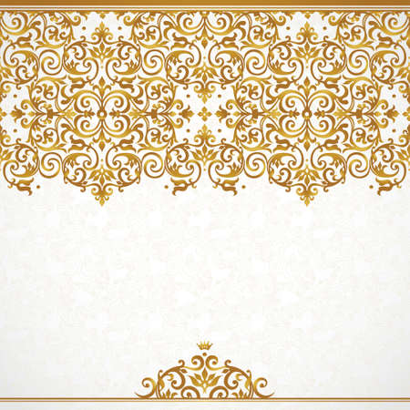 Photo pour Vector ornate seamless border in Victorian style. Gorgeous element for design, place for text. Ornamental vintage pattern for wedding invitations, birthday and greeting cards.Traditional golden decor. - image libre de droit