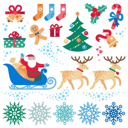 Set of christmas vector elements, winter holidays icons collection. Santa Claus in sleigh, Christmas tree, snowflakes. Happy New Year's decor for brochures, magazines, leaflets, best wishes card.