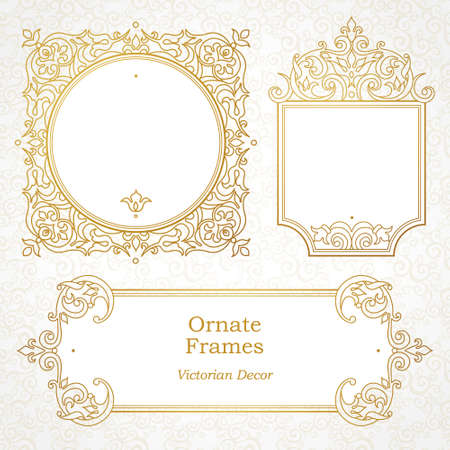 Ilustración de Vector decorative frame in Victorian style. Elegant element for design template, place for text. Outline floral border. Line art golden decor for birthday and greeting card, wedding invitation, Thank you message. - Imagen libre de derechos