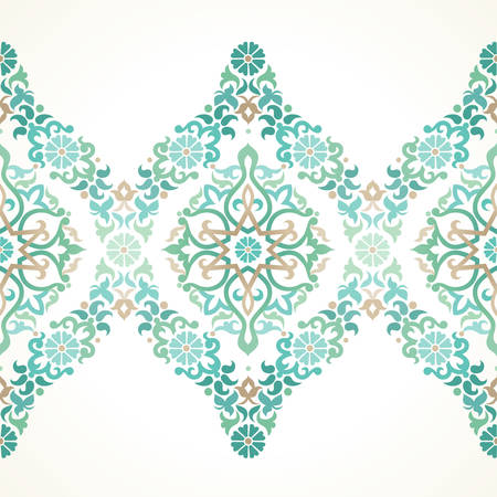 Illustration for Vector ornate seamless border in Eastern style. Floral element for design, place for text. Ornamental vintage pattern for wedding invitations, birthday and greeting cards. Traditional light green decor. - Royalty Free Image