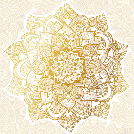 Ilustración de Vector vintage pattern in Eastern style. Ornate line art element. Ornamental floral pattern for wedding invitations, greeting cards. Traditional golden decor. Mandala. - Imagen libre de derechos
