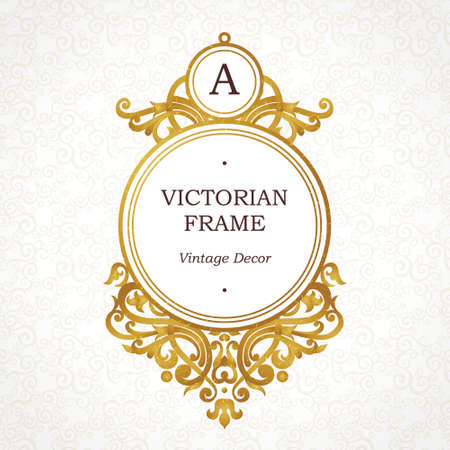 Illustration for Vector golden frame in Victorian style. Ornate element for design. Place for company name and slogan. Ornament floral vignette for business card, wedding invitations, certificate, logo template, monogram. - Royalty Free Image