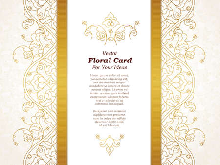 Illustration pour Vector line art seamless border for design template. Eastern style element. Golden outline floral decor. Mono line illustration for invitations, cards, certificate, thank you message, web page. - image libre de droit