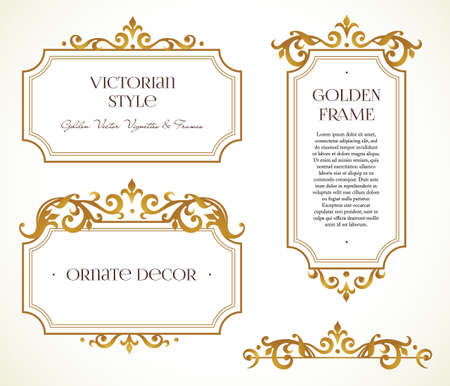 Ilustración de Vector set frames and vignette for design template. Elements in Victorian style. Golden floral borders. Ornate decor for invitations, greeting cards, certificate, thank you message. - Imagen libre de derechos