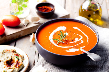 Photo pour Tomato, red pepper soup, sauce with olive oil, rosemary and smoked paprika - image libre de droit