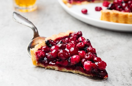 Photo for Tart, pie, cake with jellied fresh cranberries, bilberries and winter spices on a grey stone background. Copy space - Royalty Free Image