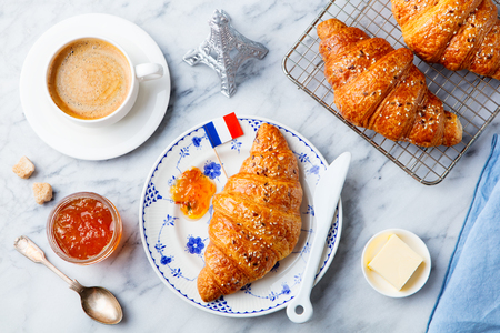 Photo for Croissants with baking ingredients. Traditional French pastry. Top view. - Royalty Free Image