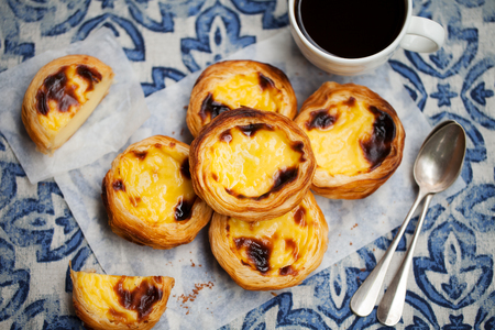 Photo for Egg tart, traditional Portuguese dessert, pastel de nata with coffee. Blue background. - Royalty Free Image