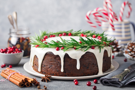 Photo for Christmas fruit cake, pudding on white plate. Copy space. - Royalty Free Image