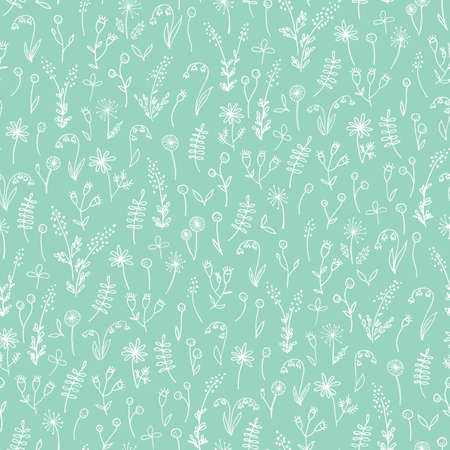 Ilustración de White Hand Drawn Doodle Floral on Mint Background Vector Seamless Pattern. Cute Meadow Flowers and Leaves Silhouettes. Line Drawing Allover Background Repeat - Imagen libre de derechos