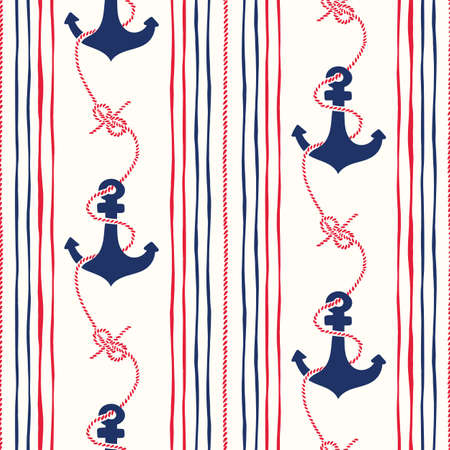 Illustration pour Hand-Drawn Rope Vertical Stripes with Anchors and Zeppelin Bend Nautical Knots Vector Seamless Pattern. Blue and Red Marine Background. Sea, Ocean Elements. - image libre de droit