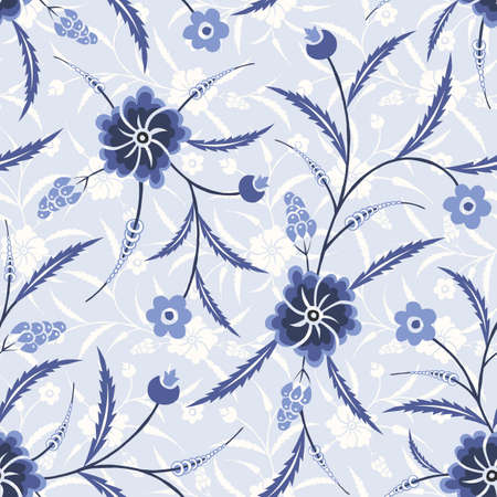 Ilustración de Monochrome Blue Traditional Chintz Floral Vector Seamless Pattern. Classic Background - Imagen libre de derechos