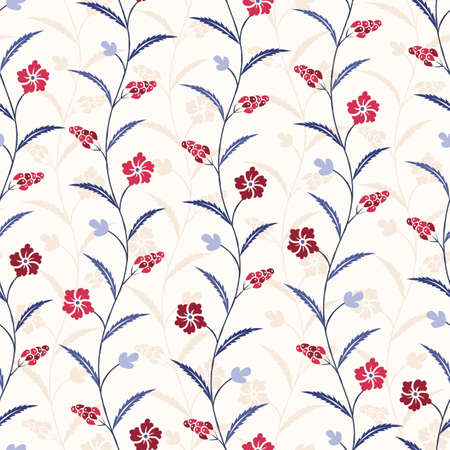 Ilustración de Blue and Red Traditional Trailing Flowers Chintz Vector Seamless Pattern. Classic Background - Imagen libre de derechos