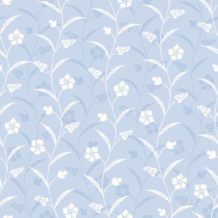 Ilustración de Monochrome Blue Traditional Trailing Flowers Chintz Vector Seamless Pattern. Classic Background - Imagen libre de derechos