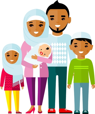 Illustration pour Traditional muslim family with children and maturity. Vector illustration. - image libre de droit
